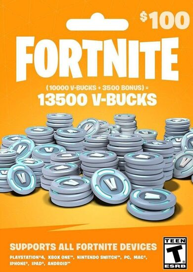 Fortnite - 13500 V-Bucks Gift Card (100 USD) Epic Games Key GLOBAL