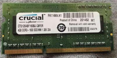 Crucial 4 GB (1 x 4 GB) DDR3-1600 Green PC RAM