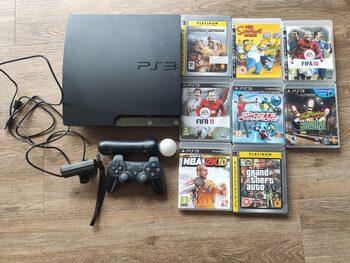 PlayStation 3 Slim, Black, 250GB + move + 8 žaidimai