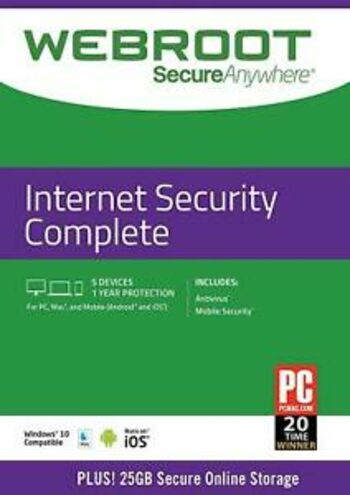 Webroot SecureAnywhere Internet Security COMPLETE 1 Device 1 Year Key GLOBAL