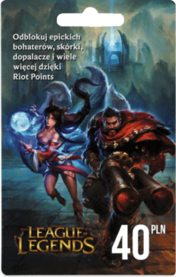 League of Legends Gift Card 40 PLN - 1420 Riot Points / 850 Valorant Points - EUROPE Server Only