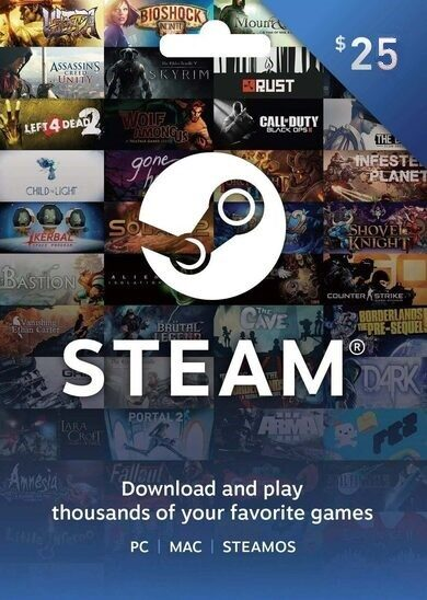 Steam Wallet Gift Card 25 USD Steam Key GLOBAL