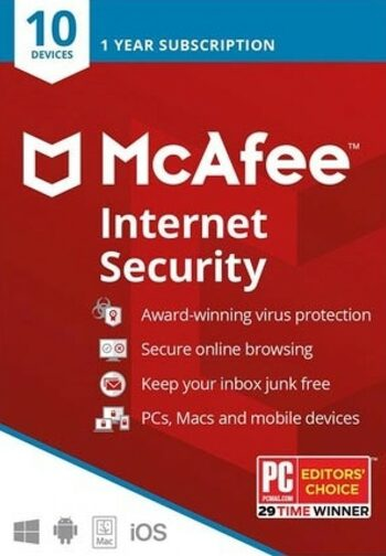 McAfee Internet Security 2020 10 Devices 1 Year Key GLOBAL