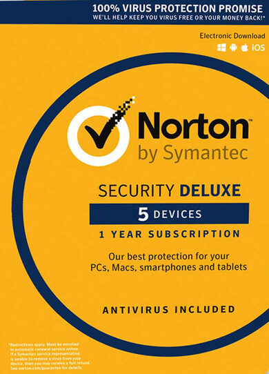 Norton Security Deluxe - 5 Device - 1 Year - Norton Key EUROPE