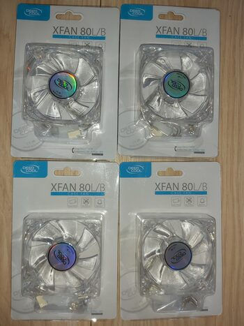 4x Deepcool Xfan 80 mm, transparent frame with blue LED, 3Pin/2pin case ventilation fan