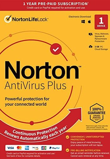 Norton 360 Antivirus Plus 2GB - 1 Device 1 Year - Norton Key GLOBAL