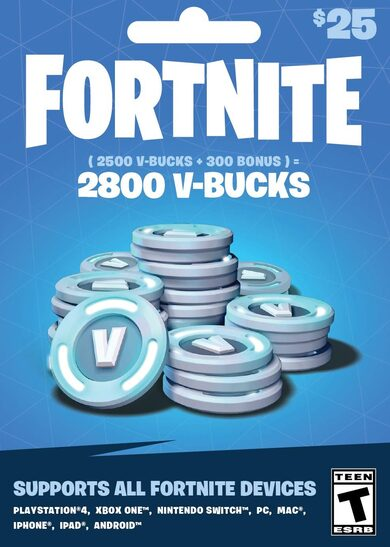 Fortnite - 2800 V-Bucks Gift Card (25 USD) Epic Games Key GLOBAL