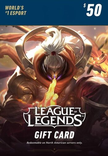 League of Legends Gift Card 50$ - 7200 Riot Points / 5025 Valorant Points - NA Server Only