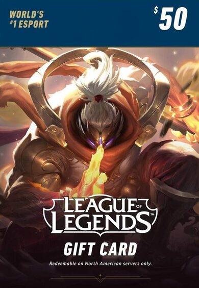 League of Legends $50 Gift Card Key – 7200 Riot Points - NA Server Only