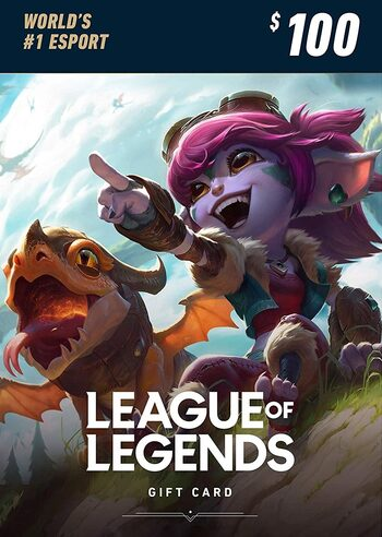League of Legends Gift Card 100$ - 15000 Riot Points / 10500 Valorant Points - NA Server Only