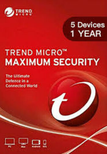 Trend Micro Maximum Security 5 Devices 1 Year Key GLOBAL
